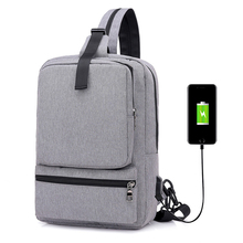 new mens chest bag USB charging backpack casual multi-function large capacity travel water repellent notebook