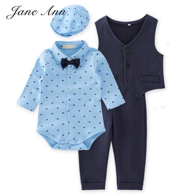 2017 Nova roupa do bebê menino de algodão de manga longa azul senhores gravata borboleta bodysuit + colete + calça + chapéu infantil festa de aniversário roupas roupa