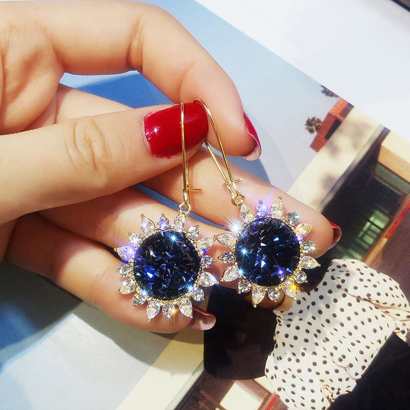 Shiny Side New Fashion Brand Jewelry rhinestone Sunflower Dangle Earrings for Women crystal Gift flower Earrings free shipping(China)