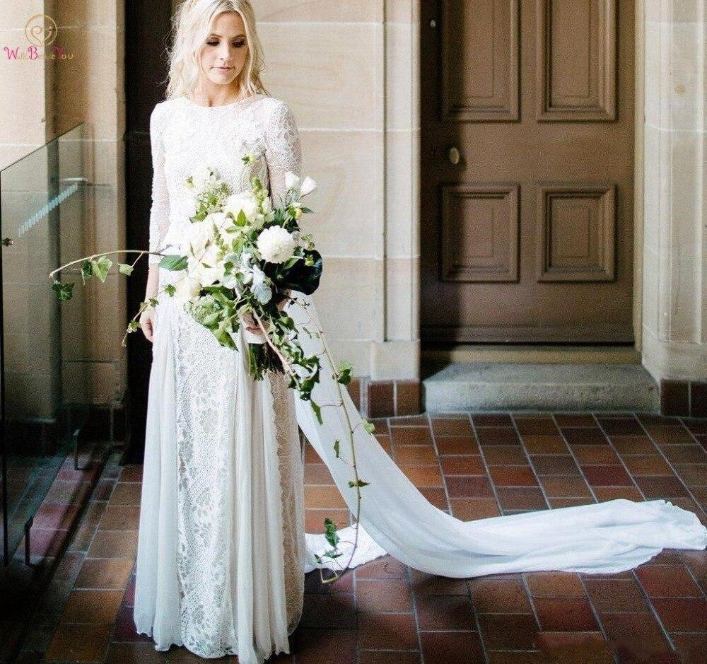 Boho Wedding Dresses 2019 Vintage Lace Sheer Illusion Three Quarter Sleeves Appliques Scoop Neck Chiffon Bridal Gowns