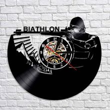 Biathlon Vinyl Clock Winter Sport Target Shooting Wall Clock Handmade Bedroomg Living Room Decor Gift For Shooting Lover(China)
