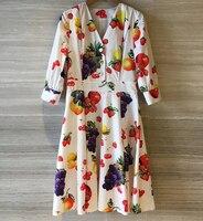 Милые фрукты Платье с принтом для женщин ТРАПЕЦИЕВИДНОЕ ПЛАТЬЕ 2019 Весна Новый v образный вырез женское платье элегантное