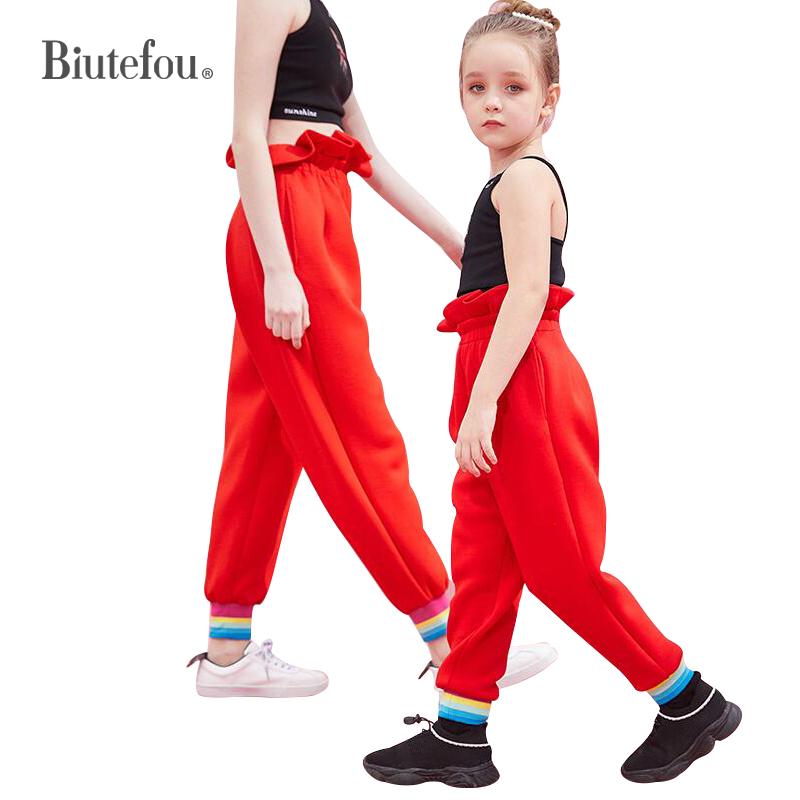 2019 Biutefou brand family matching outfits solid color loose pants mother and daughter spring ruffles high waist pants2019 Biutefou brand family matching outfits solid color loose pants mother and daughter spring ruffles high waist pants