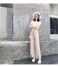 Fashion 2019 Summer Women Ice Silk Knit Pleated Wide Leg Pants Elastic High Waist Straight Pants Lace Up Solid Long Trousers lace up color block selvedge embellished straight leg pants for men