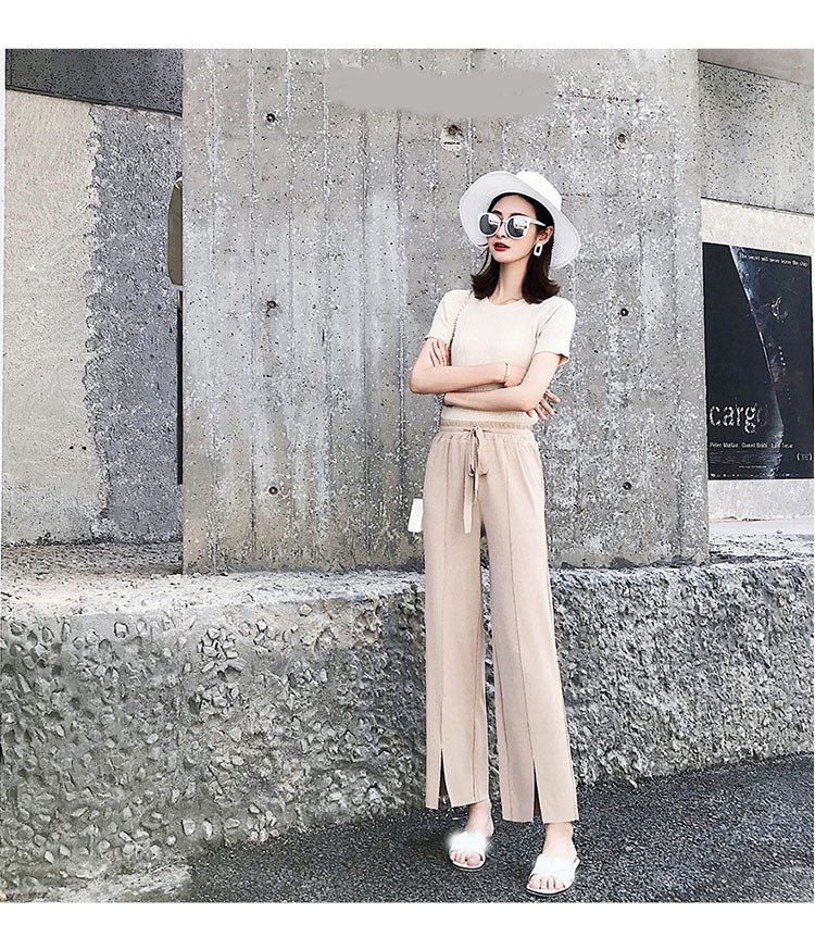 Fashion 2019 Summer Women Ice Silk Knit Pleated   Wide     Leg     Pants   Elastic High Waist Straight   Pants   Lace Up Solid Long Trousers