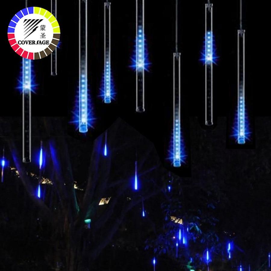 Coversage Led Meteor jardín árbol de Navidad Garland Luces Navidad 30 cm Navidad Luces decorativas al aire libre Luces de hadas de cuerdas