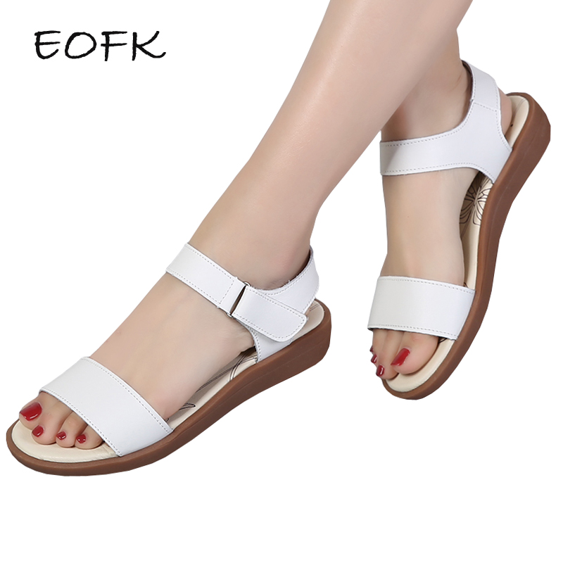 EOFK Summer Women Sandals High Quality Comfortable Leather Flat Breathable Sandals Lady Shoes Woman White S Sandalias kesmall summer women sandals comfortable pu flat comfort sandals lady shoes woman white sandalias women wedges slippers home