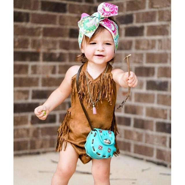 Summer Vintage Infant Baby Girls Sleeveless Halter Tassel Bodysuit ...