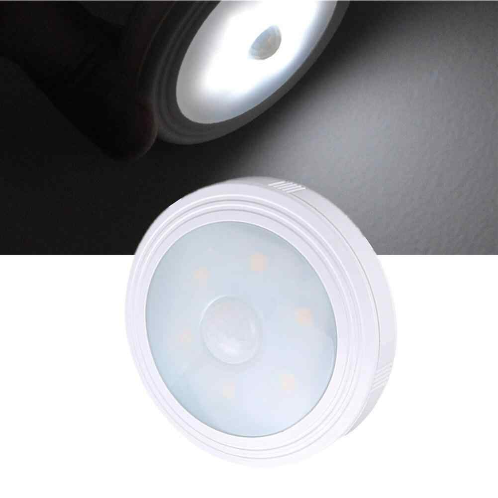 1 Pc 6 Leds Nachtlampje Intelligente Human Body Motion Sensor Inductie Ronde Led Night Lamp Voor Kast Trap Wc verlichting