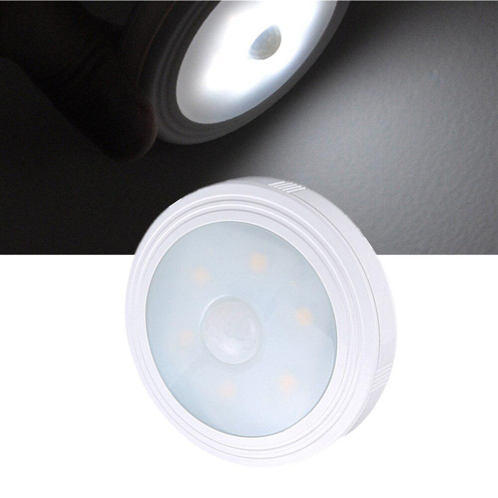 1PC 6 LEDs Night Light Intelligent Human Body Motion Sensor Induction Round Led Night Lamp For Cabinet Stair Toilet Lighting