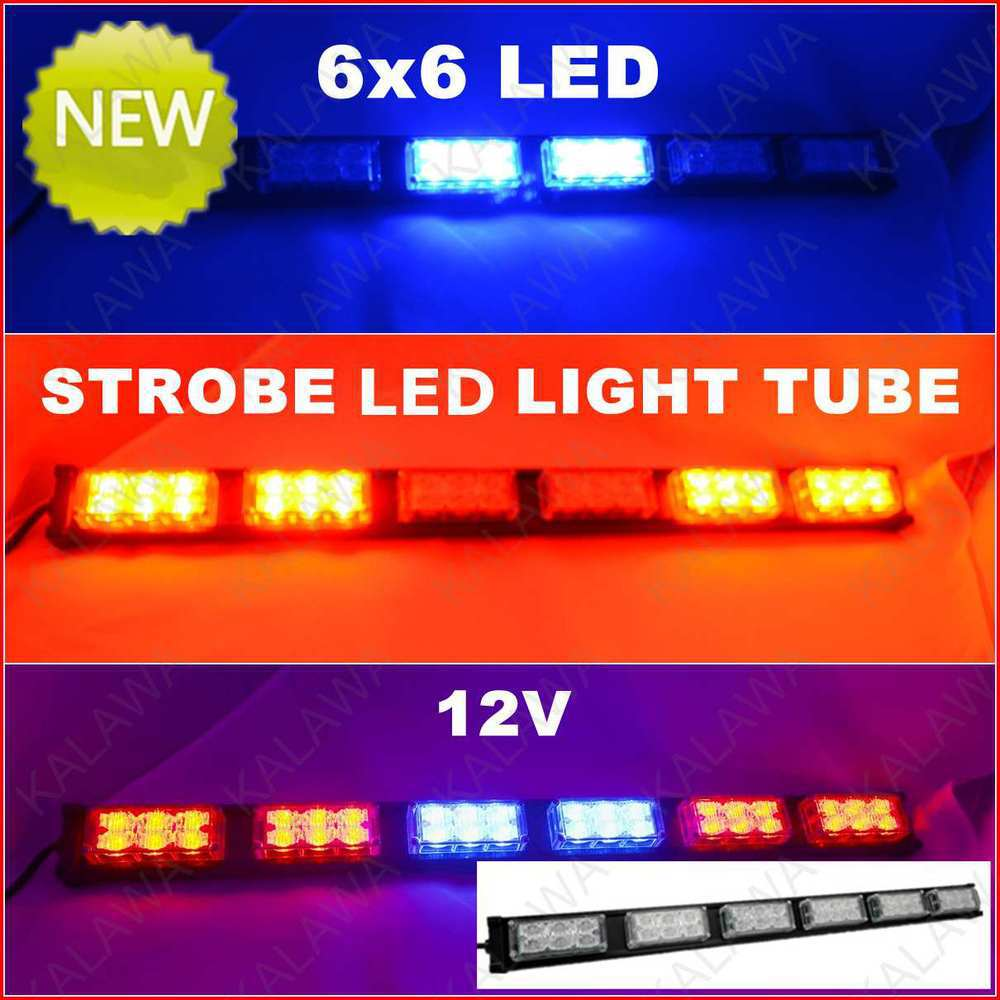 ФОТО 36X0.5W/ LED!! LED Strobe Light Tube Warning Light/Flash Light 12V/18W red&blue 52006-6 (freeshipping)#G