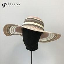 80805e5b46b Fibonacci Summer Multi-color Patchwork Rainbow Female Sun Hat Sombrero Big  Brim Panama Beach Hats for Women Foldable Straw Hat