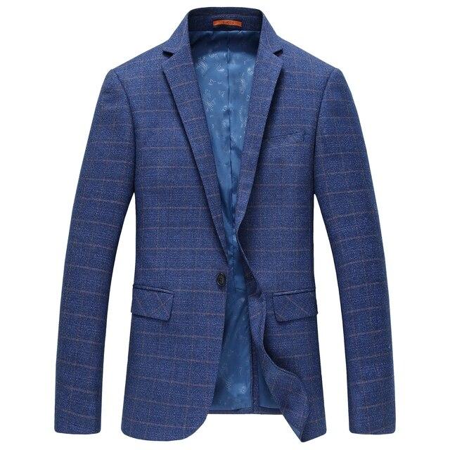 Casual Trajes para Hombres Traje a Cuadros Abrigo de Alta calidad Fit Azul  Vestido de Marca 17f2549bd4d9