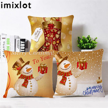 Imixot Christmas Style Pillow Case Bedroom Pillow Cover Santa Claus Snowman Pillowcase Home Decorative Merry Xmas Present linen seat cushion merry christmas pillow cover