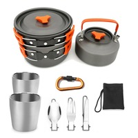 Camping cookware Outdoor cookware set camping Double Deck Glass tableware cooking set travel tableware hiking picnic set