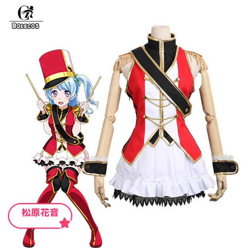 Rolecos Anime Bang Dream Cosplay Costume Hello Happy World Kanon Matsubara Costume Drummer Red Skirts For Women Cosplay Costume