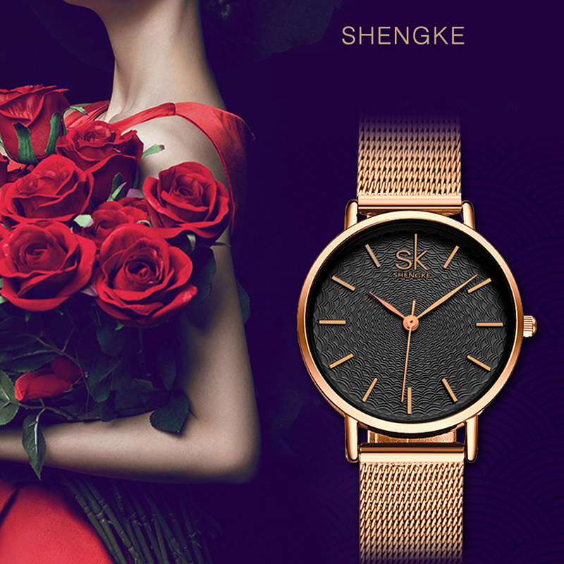 SK Fashion Golden Women Watches Super Slim Ladies Watch Women Top Luxury Brand Jewelry Quartz Clock Dress Wristwatch Bayan Saat