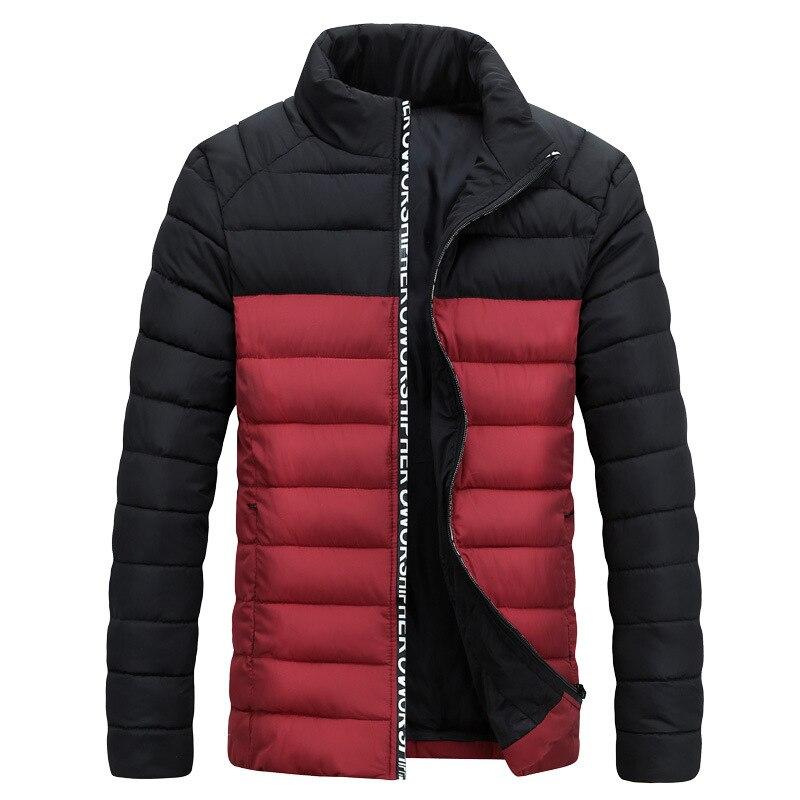 ФОТО Mens New Arrival Cotton-padded Kurtki Men Fashion Contrast Color Chaqueta Invierno Hombre Slim Fit Stylish Winter Jackets Men