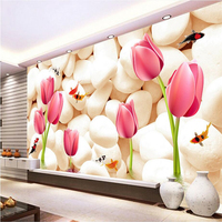 Custom Murals3d Home Wallpaper Stone and Tulip Wallpaper for Walls 3 d Extra Thick Embossed TV Background Wall Mural Wallpaper