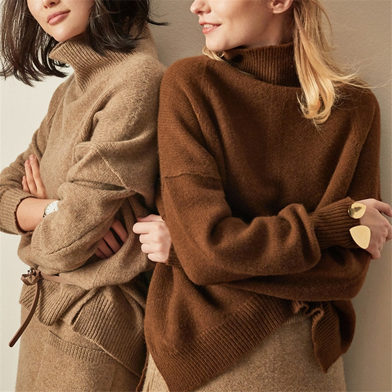 Chaud Col Hiver Solides Gray Casual Pull Femmes En light Kulazopper Longues Roulé Brown dark Chandail Kw080 Tricoté Manches Femme Dame Camel Cachemire 7fwqEx