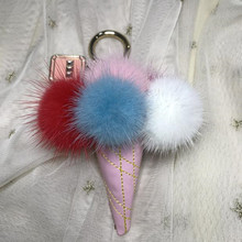 Fur pom pom keychain Fluffy Mink Fur Keyring bag charms leather Ice-Cream key chain Pendant Perfume Bottle Key holder gift Women недорого