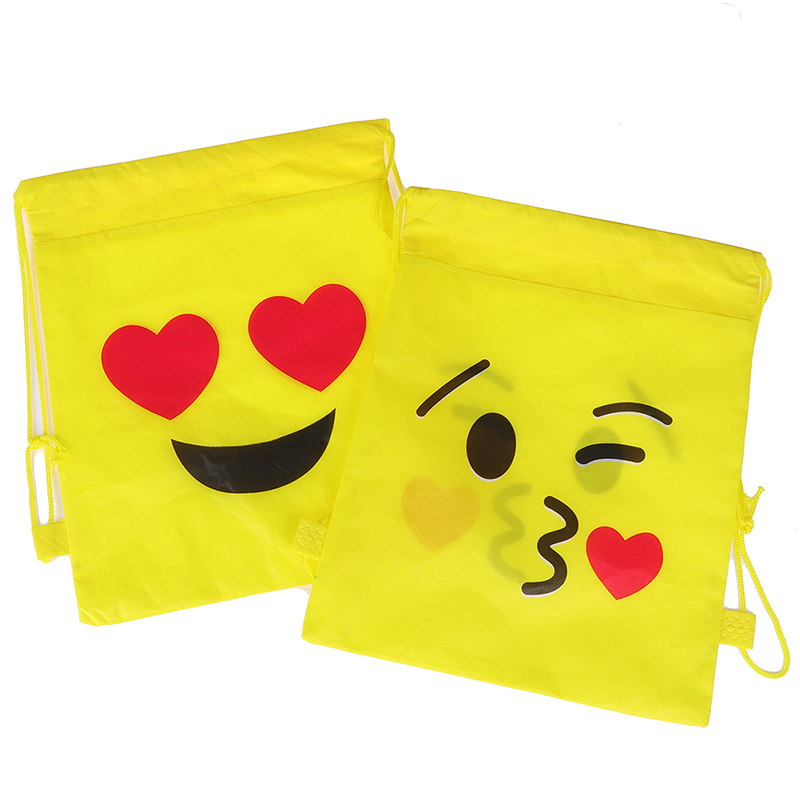 1pcs Random Expression Non-woven Drawstring Bag Backpack Kids Travel School Decor Gift Bags