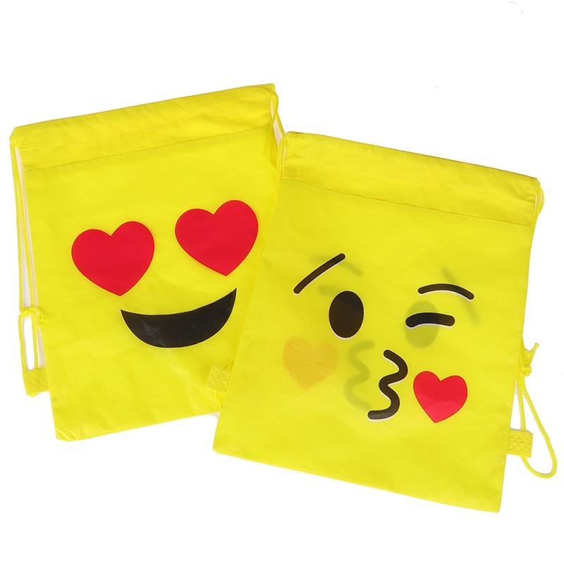 1pcs Random Expression Non-woven Drawstring Bag Backpack Kids Travel School Decor Gift Bags