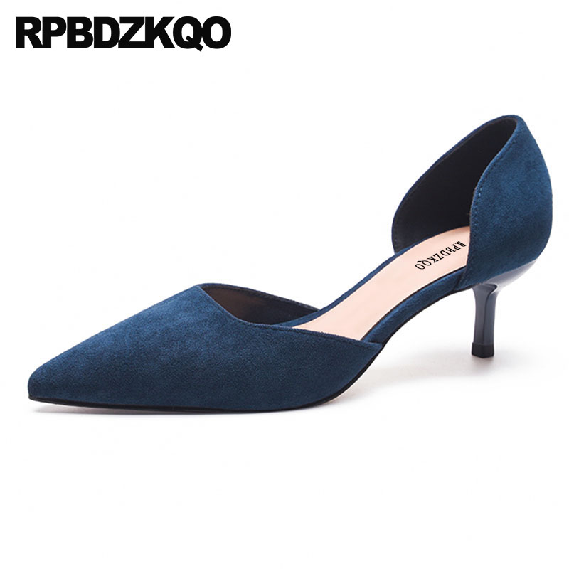 Pointed Toe Kitten Ladies Thin Medium Heels Shoes Sandals Celebrity High Size 4 34 Navy Blue Pumps Turquoise Red Suede D'orsay bow size 33 cute 2018 3 inch pumps korean medium heels pointed toe 4 34 thin kawaii sweet kitten nude blue suede shoes women