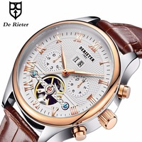 Derieter Rose Gold Automatic Watches Men Mechanical Wristwatch Skeleton Tourbillon Wrist Watch Waterproof Relogio Masculino