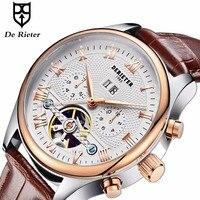 Derieter Rose Gold Automatic Watches Men Mechanical Wristwatch Skeleton Tourbillon Wrist Watch Waterproof Relogio Masculino