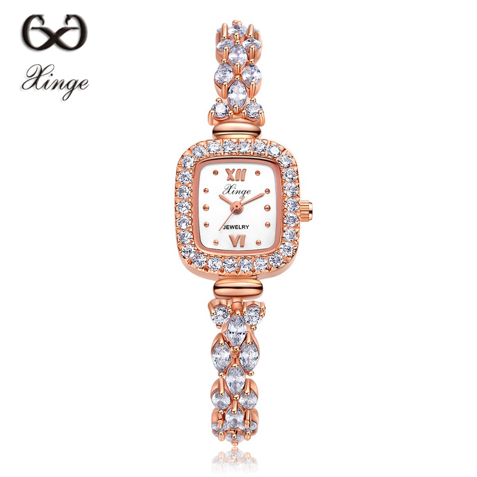 Xinge Zircon Luxury Women Rose Gold Watches Women Bracelet Watch Business Quartz Wristwatches Dress Fashion Female Wrist Watch free shipping electric hammer drill speed control switch for bosch gbh20 24 gst85pbe power tool accessories
