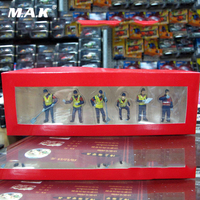 Toys for Children Kids 6pcs/Set 1/50 Scale Scene Accessories Blue Male Workers Construction Figures for Engineering Vehicle
