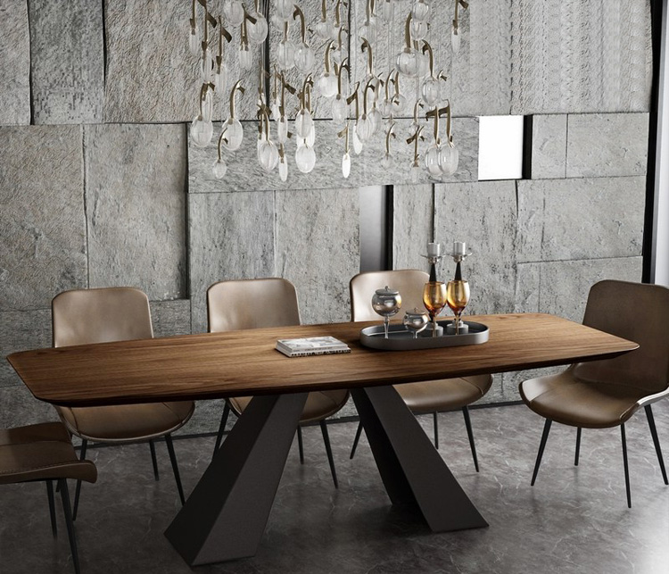 Stainless Steel Dining Room Set Home Furniture Minimalist Modern Wooden Dining Table And 8 Chairs Mesa De Jantar Muebles Comedor