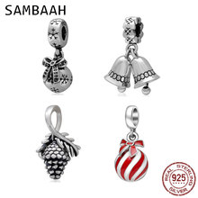 Sambaah Christmas Ornament Pinecone Charm 925 Sterling Silver Xmas Ball Bell Beads for Original Pandora Gifts Bracelet