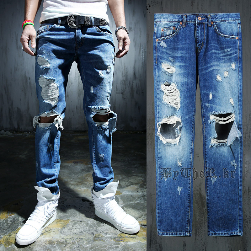 Mens Distressed Jeans Ripped - Xtellar Jeans