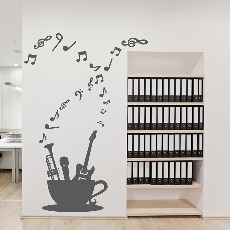 Musical Instrument Note Cup Classroom Wall Stickers Kids Room Bedroom Living Background