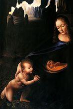 Virgin of the Rocks (Louvre Detail with Child) by Leonardo Da Vinci Handpainted