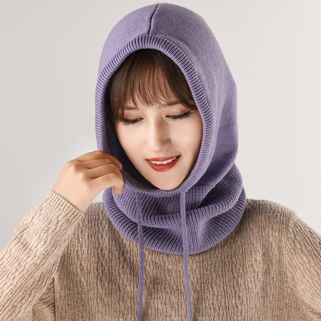 effa9acbc9e Cashmere Hooded Scarf Female 2018 Women s Winter Hat Collar Set Thicken  Scarf Cap Autumn Wool Knitted