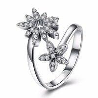 Nowy Prawdziwe 925 Sterling Srebrny Pierścień Mody Pięć Liści Kwiat Pierścionek Z Cyrkoniami Kamienia Dla Kobiet Biżuteria Adjustbal