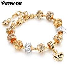 Pansona 925 Crystal Heart Charm Bracelets & Bangles Gold Bracelets for Women Jewellery Pulseira Feminina Christmas gift