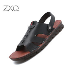 2019 New Fashion Summer Beach Breathable Men Sandals Genuine Leather Black Brown Comfortable Man Causal Shoes
