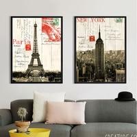 Francia Parigi Torre Eiffel New York Empire State Building Retro della Tela di canapa di Arte pittura poster cuadros decoracion hogar cuadros moder