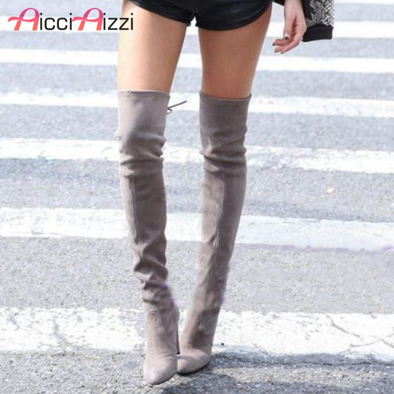 Womens Stretch Slim Suede Over the Knee Boots Thigh High Boots Sexy Fashion High Heel Boot Shoes Woman Black Grey Size 34-43 new thigh high women faux suede sexy fashion over the knee boots sexy thin high heel boots platform woman shoes black blue 34 43