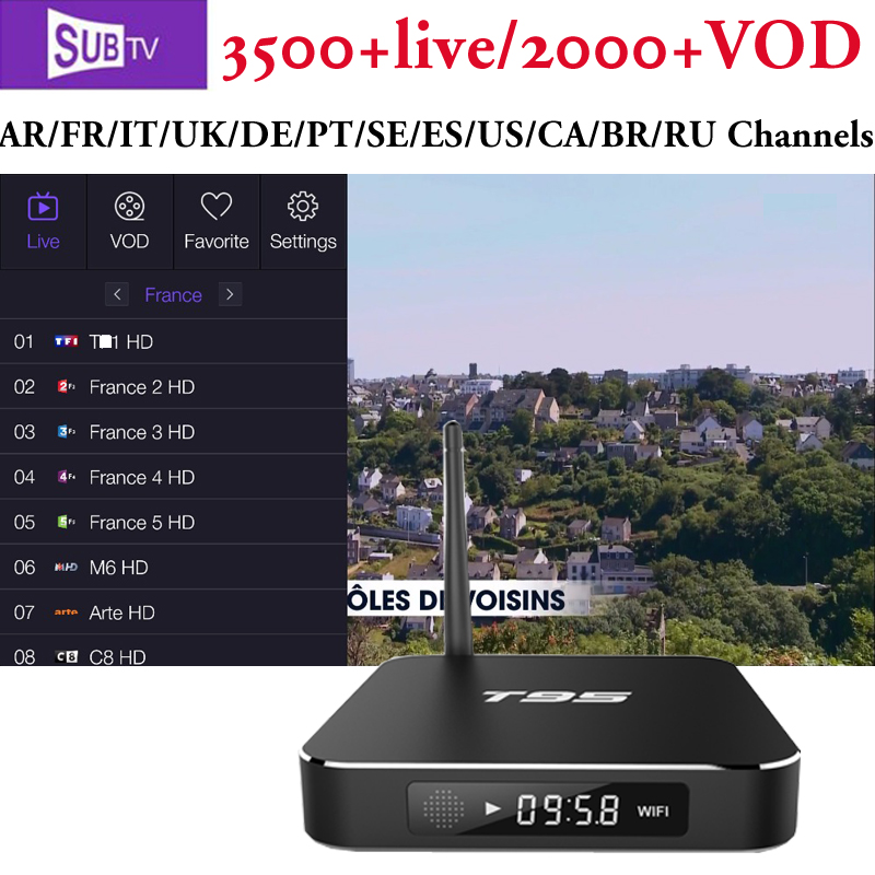US $84 98 |Latino IPTV Smart TV Box T95 Android 6 0 4K HD Europe Arabic  Channels via SUBTV French Canada USA Pakistan EX YU INDIA IP TV-in Set-top