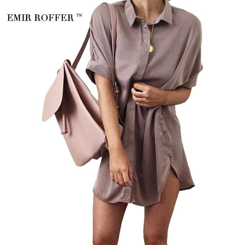 EMIR ROFFER Spring Summer 2017 Vintage Satin Blouse Long Shirt Women Short Sleeve Casual Large Size Top Female Blusas Clothes