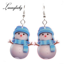 10pairs/lot Acrylic Drop Earrings Santa Claus Bell Snowflower Snowman Cap Candy Shaped Dangle Women Lovely Eardrop