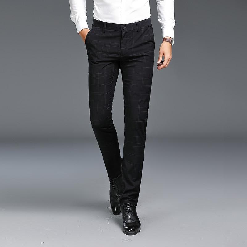 Spring and Autumn Male Plaid Striped Suit Pants Business Work Banquet Men's Suit Trousers Fashion Stretch Slim Men Suit Pants