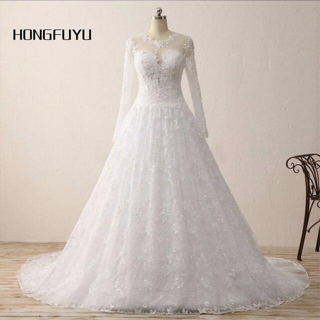 HONGFUYU Vestido De Noiva A Line Long Sleeves Cheap Camo White ...