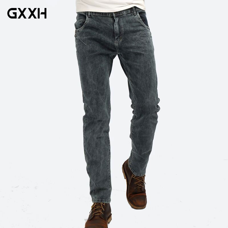 2018 Spring and Summer New jeans Mens Elastic Stretch Smoke Gray Denim pants Womens Classic jeans Size 27-32 33 34 36