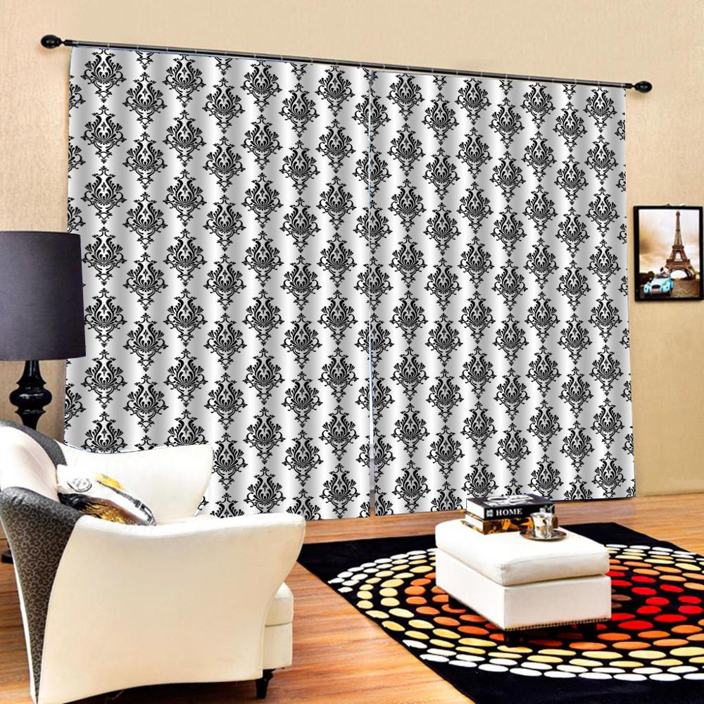 black Curtain office Bedroom 3D Window Curtain Luxury living room decorate Cortina Blackout curtain(China)
